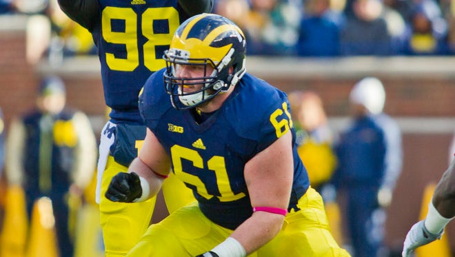 Michigan offensive lineman Graham Glasgow was selected by the Lions in the 3rd round of the 2016 NFL Draft.