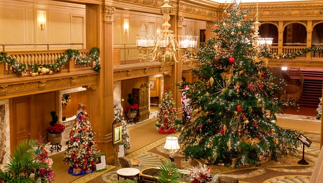 The lobby of the Fairmont Olympic Hotel in Seattle is all decked out for the holidays.