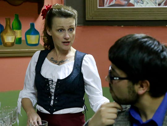 Rhonda Sigler, left, as Germaine and Abron Lobato as