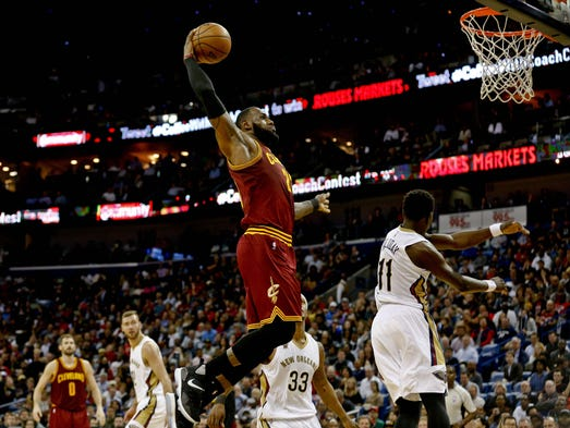 Jan 23: Cleveland Cavaliers forward LeBron James dunks