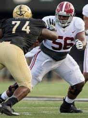 Alabama offensive lineman Brandon Kennedy (56) against