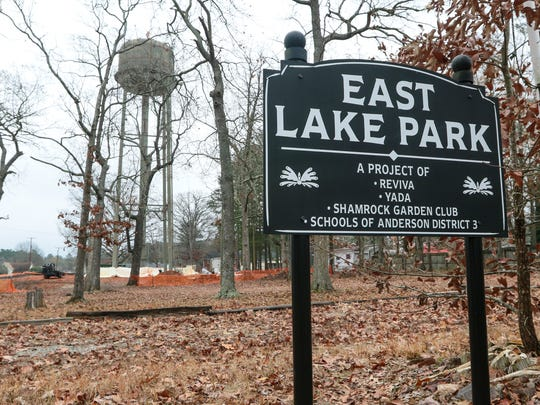Work at East Lake Park - a project of REViva, Yada, the Shamrock Garden Club and Anderson School District 3 - is in progress in Iva, with a water tower near completion and a playground to follow.