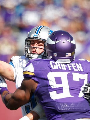 Vikings defensive end Everson Griffen pressures Lions quarterback Matthew Stafford into throwing an incomplete pass in the fourth quarter Sunday in Minneapolis.