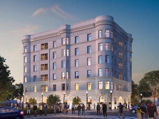 A rendering of the future redeveloped Alhambra, a residential complex within the new Detroit arena district