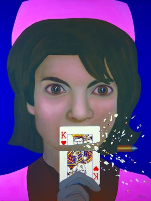Pictured is a piece by Tina Moon titled Jacqueline Kennedy, King of Hearts.