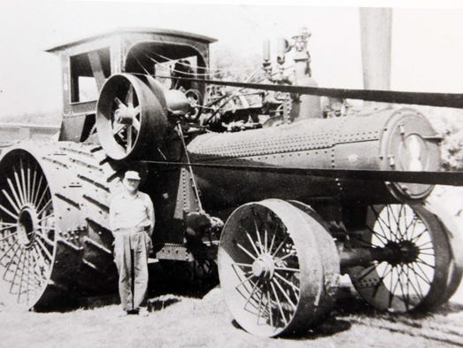 Squire Parker with Case steam tractor near Fertile, Iowa, in 1930.