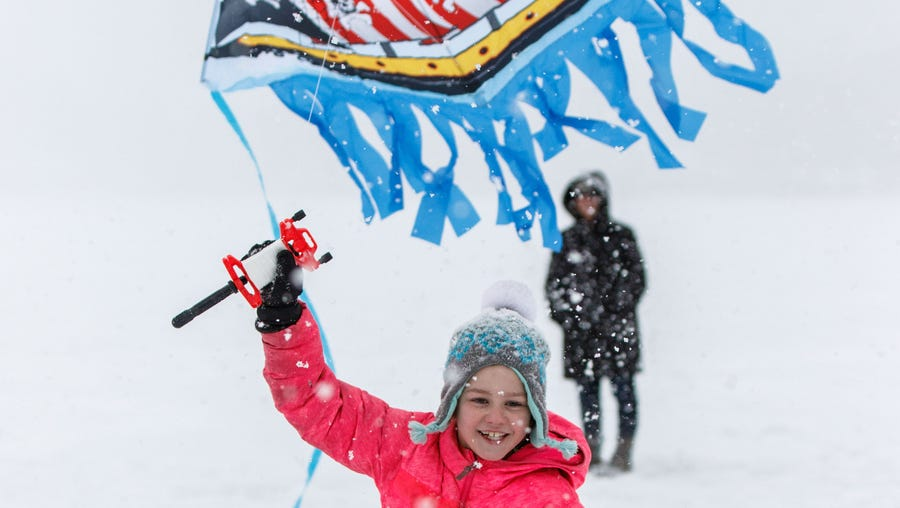 Gianna Shields, 7, of Pewaukee, tries to launch her