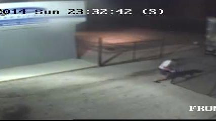 Picture of the suspect closing the gate.