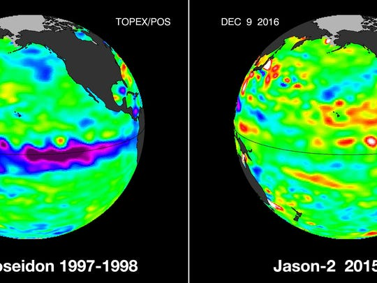 The strong La Niña pattern visible on the left has not shown up this year.