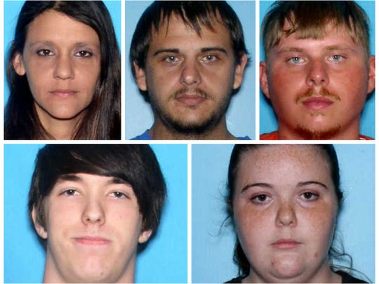 Victims of an Alabama multiple homicide include Shannon Randall (top, from left), Robert Lee Brown, Joseph Adam Turner, Justin Caleb Reed (bottom, from left) and Chelsea Marie Reed
