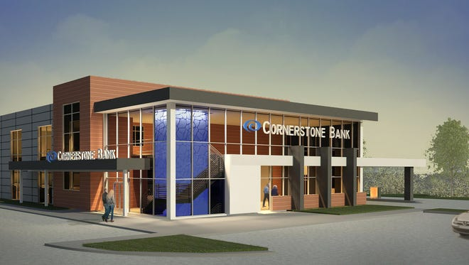A rendering of Cornerstone Bank's new location at 69th and Louise.