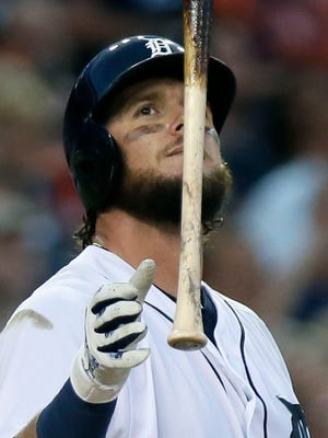 Detroit Tigers' Jarrod Saltalamacchia flips his bat after striking out against the Boston Red Sox Friday, Aug. 19, 2016, in Detroit.