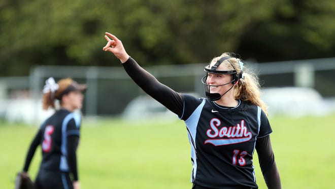Katie Donovan pitches a win as South Salem defeats Sprague by a rousing softball score of 12-0 in five innings.