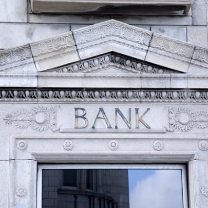 Entrance to a bank building.