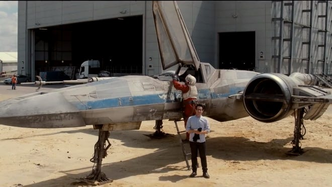 """A screen grab from the video in which J.J. Abrams appears to be revealing a detail about the upcoming """"Star Wars: Episode VII"""" — or is he?"""