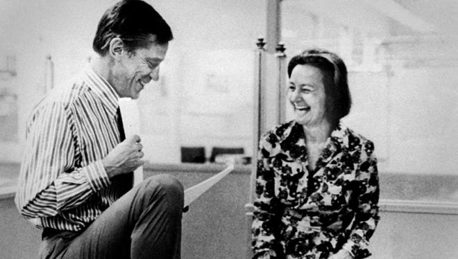 Washington Post executive editor Ben Bradlee and publisher Katharine Graham are seen in the late 1960s or early 1970s in Washington, D.C.
