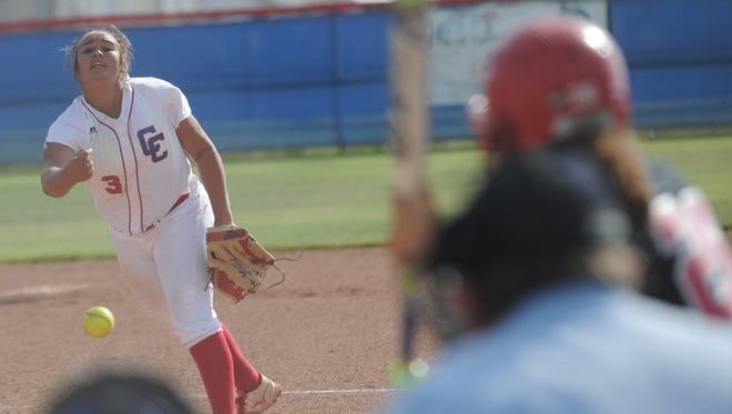 Cooper pitcher Camille Scott throws a pitch to Lubbock Coronado's Jade Montoya in the fifth inning. Coronado won the game 5-0 Friday, April 21, 2017 at Cougar Diamond.
