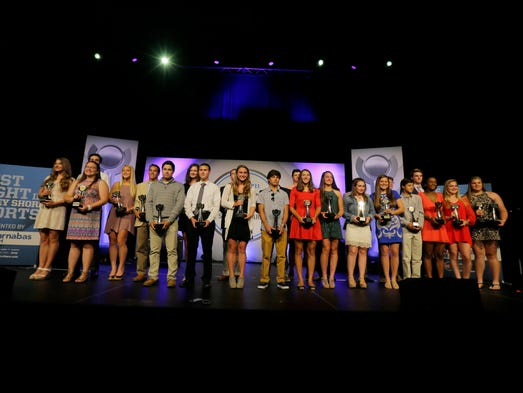 Award winners line the stage after the Asbury Park