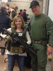 Tribune reporter Andrea Fisher-Nitschke poses in tactical