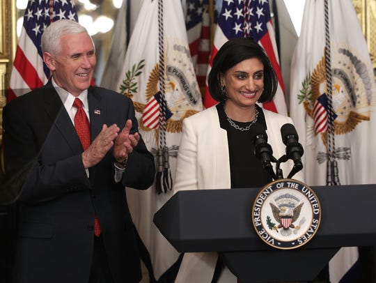 Seema Verma speaks during a swearing-in ceremony, officiated