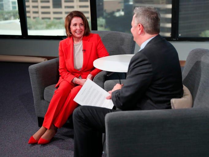 House Minority Leader Nancy Pelosi is interviewed by