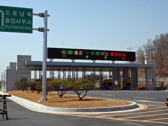 Less than 800 yards from the DMZ is Dorasan Station, a train transit hub, and four-lane highway toll stop. There is no traffic until reunification.