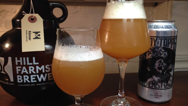 Hill Farmstead Abner, left, and The Alchemist Heady Topper, both examples of Vermont IPA-style beers.