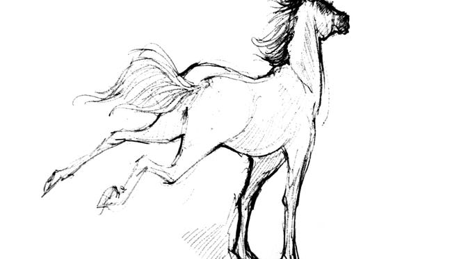 Illustration of a horse by Lavinia Liang.