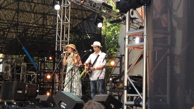 Mike Merenda and Ruthy Ungar of Ulster County onstage at Lincoln Center's Damrosch Park during Seeger Fest.