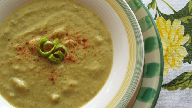 Potato Leek Soup with Roasted Butternut Squash makes a hearty meal for fall.
