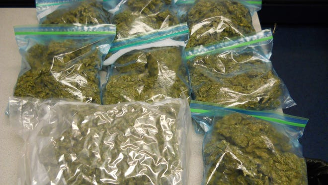 Delaware State Police seized about 8 pounds of marijuana from a traffic stop May 27.