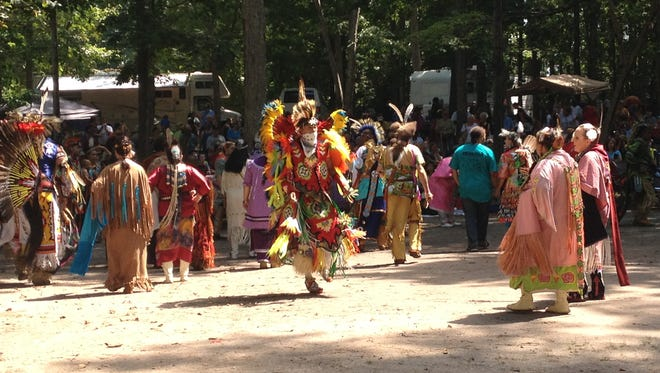 Attendees of the 37th Annual Nanticoke Indian Powwow take part in Saturday's Grand Entry ceremony.
