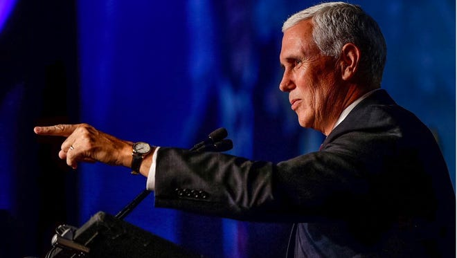 Gov. Mike Pence, the Republican vice presidential nominee, addressed members of the American Legislative Exchange Council on Friday, July 29, 2016, at its annual meeting in Indianapolis.