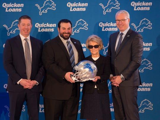 From left: Lions GM Bob Quinn, new head coach Matt