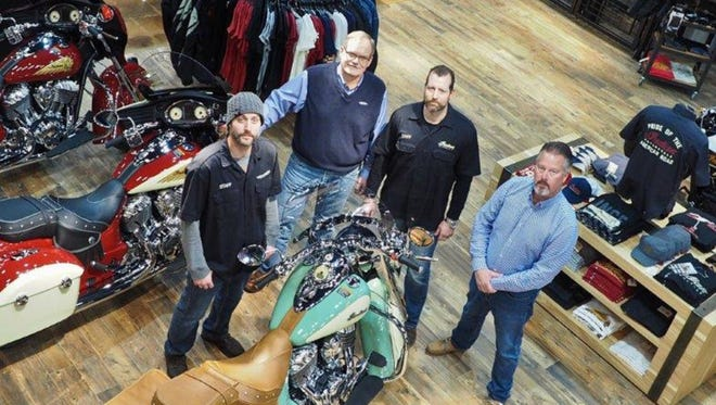 Greg Faiella, Art Hance, John Costa, and Rob Stephenson are left to right at Rollin' Fast Indian Motorcycle's new showroom in Lebanon.