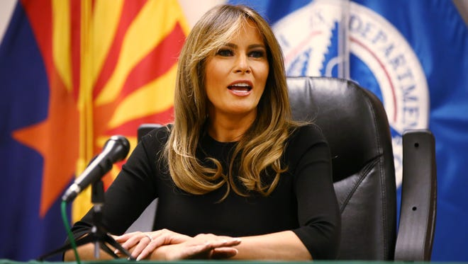 First lady Melania Trump participates in a discussion on border security at Tucson Sectoroffice of the U.S. Customs and BorderProtection on Thursday, June 28, 2018, in Tucson.