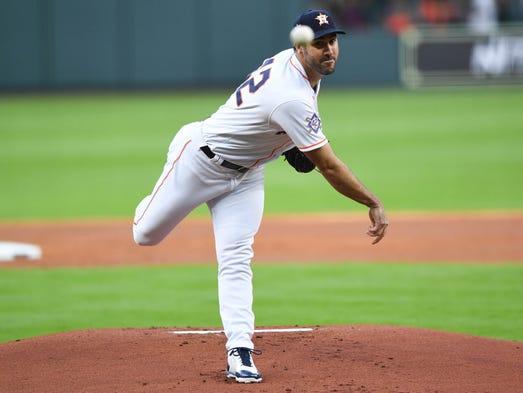 April 15: Justin Verlander, Astros, 11 vs. Rangers
