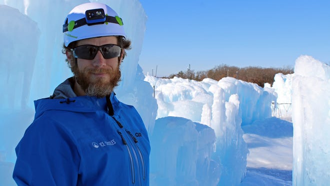 Dan Beck, site manager at the Wisconsin Dells ice castle, says the project is about 60 percent completed.