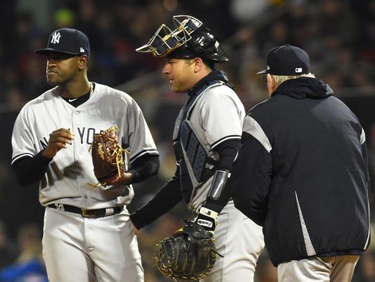 Apr 10, 2018; Boston, MA, USA; New York Yankees pitching