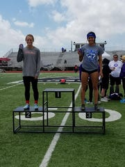 Lake View's Veronica Diaz, right, finished third in the girls pole vault at the Districts 3/4-5A Track and Field Championships Friday, April 21, in Canyon.