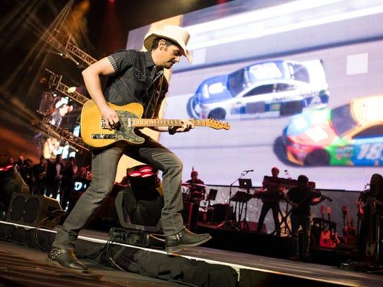 Brad Paisley performs at Bridgestone Arena, Friday,
