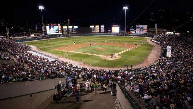 Fans pack Frontier Field for a game between the Rochester Red Wings and Buffalo Bisons,