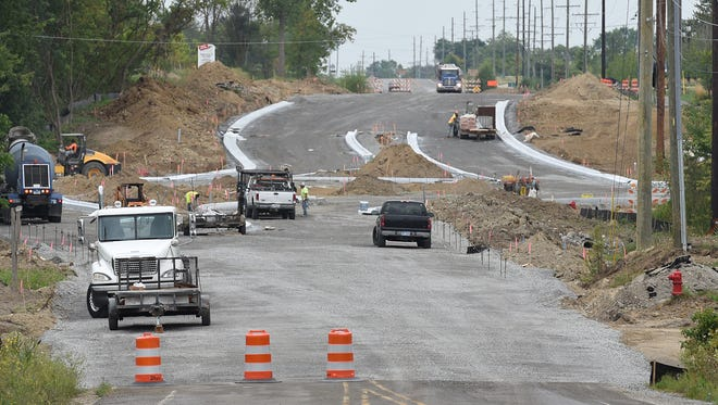 The roundabout at 10 Mile and Napier in Lyon during construction two years ago. A new roundabout is being planned for the intersection of Pontiac Trail and Seven Mile Road in Salem Township.