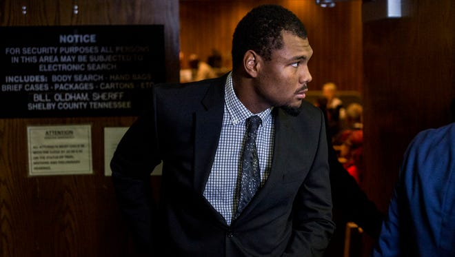 October 16, 2017 - Ernest Suttles, a former University of Memphis defensive lineman charged with rape, leaves the courtroom after entering a plea of not guilty on Monday. Suttles denied the allegation of rape in a statement released Saturday night through his attorney, Blake Ballin.