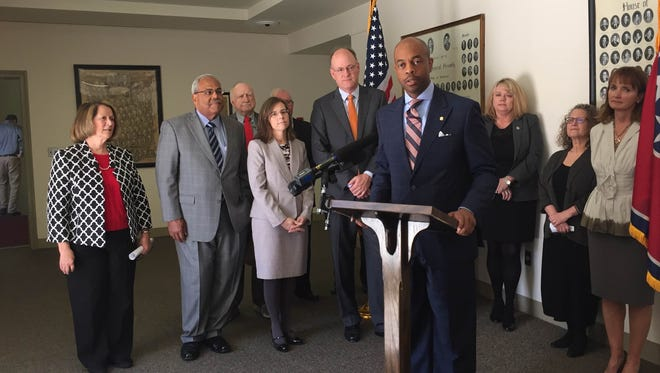 State Rep. Harold Love, D-Nashville, speaks at a press conference Tuesday, April 12, 2016, announcing an effort to increase public awareness of how to get cases expunged.