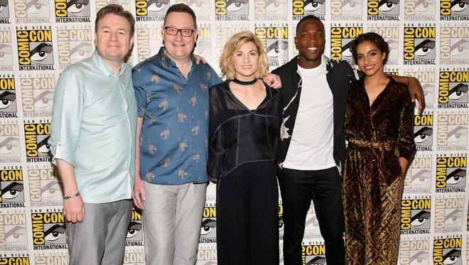 "It's that time of year for cosplay, movies, comics and all things geekdom. Here at San Diego Comic-Con 2018 (July 19 to 22), they have it all. The new cast of ""Doctor Who"" (from left) Matt Strevens, Chris Chibnall, Jodie Whittaker, Tosin Cole and Mandip Gill pose at Comic-Con on July 19."