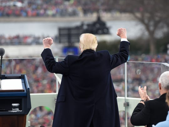 President Trump celebrates after his inaugural address