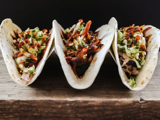 Tacos from Oink and Moo BBQ.