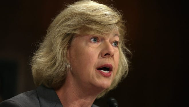 Sen. Tammy Baldwin, D-Wis., testifies during a hearing before the Senate Judiciary Committee on July 15, 2014, on Capitol Hill.