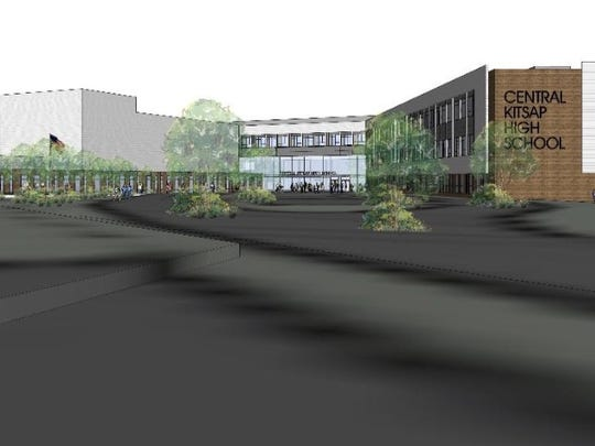 An architect's rendering of plans for the Central Kitsap High School campus, which also will have a middle school.
